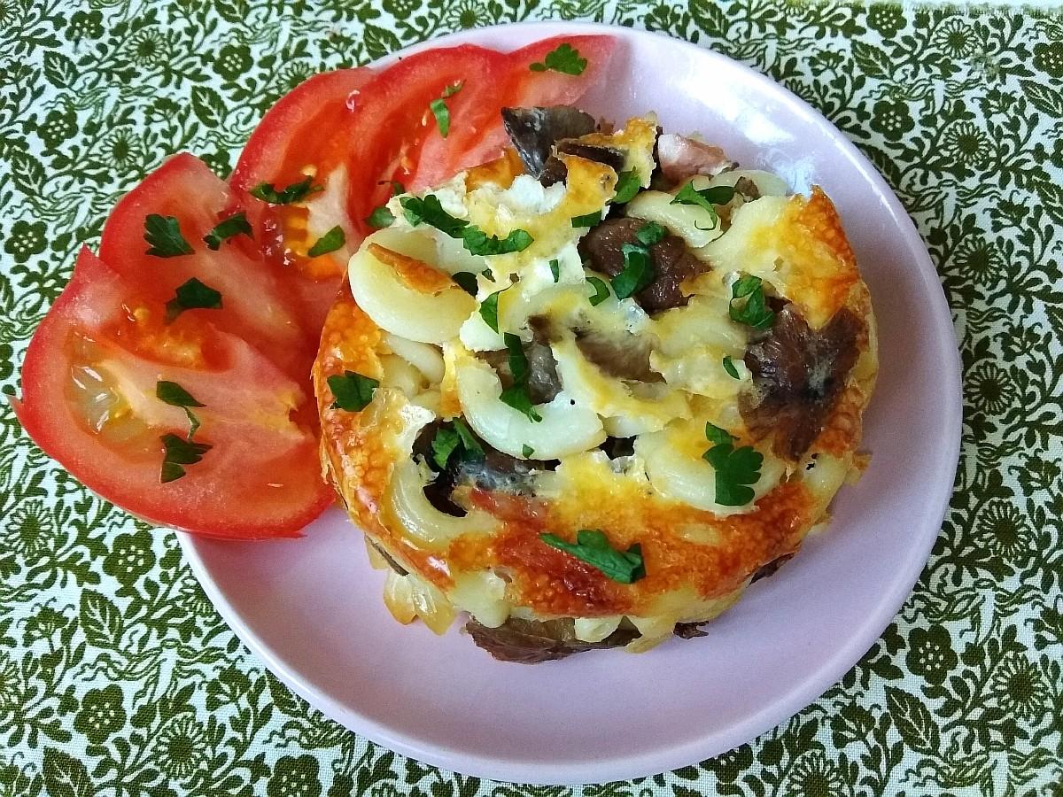 Рецепт приготовления запеканки с макаронами, грибами и ветчиной