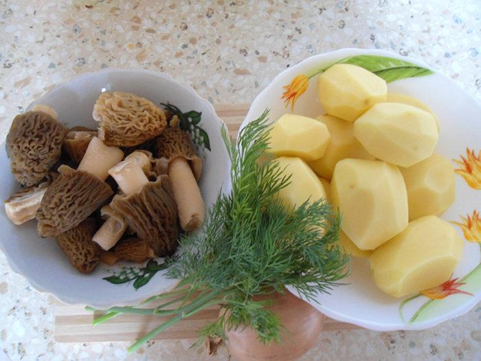 Сморчки с картофелем