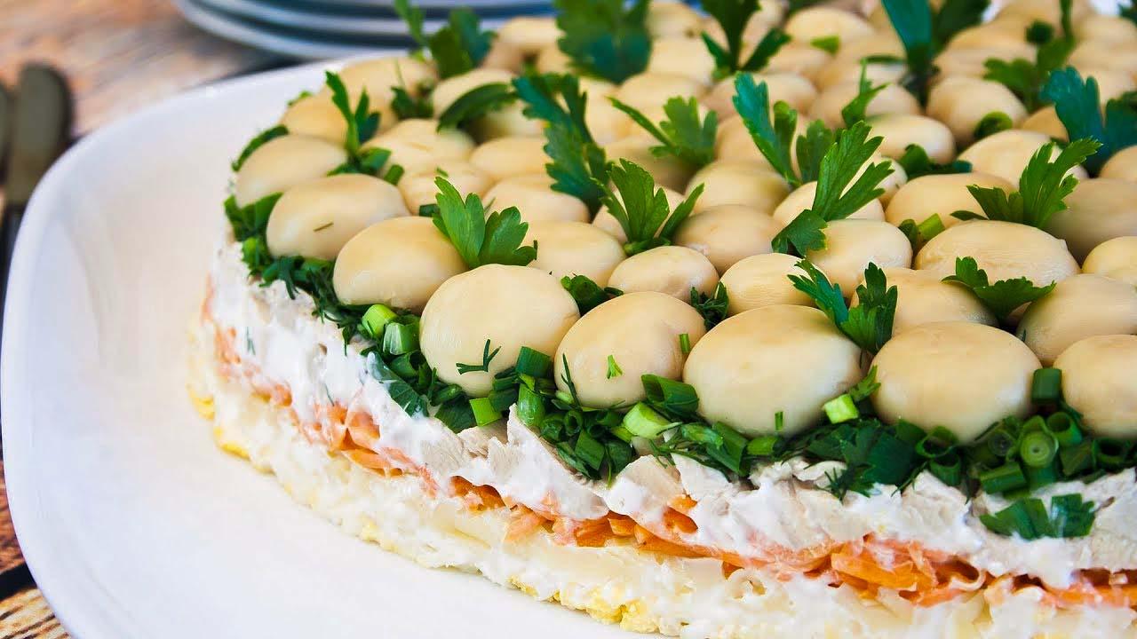 Как приготовать салат лесная поляна с шампиньонами